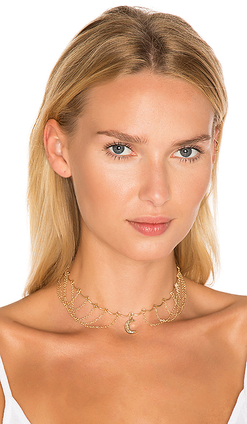 Ettika Moon Multi Chain Choker in Metallic Gold