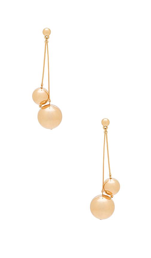 Ettika Double Sphere Earrings in Metallic Gold