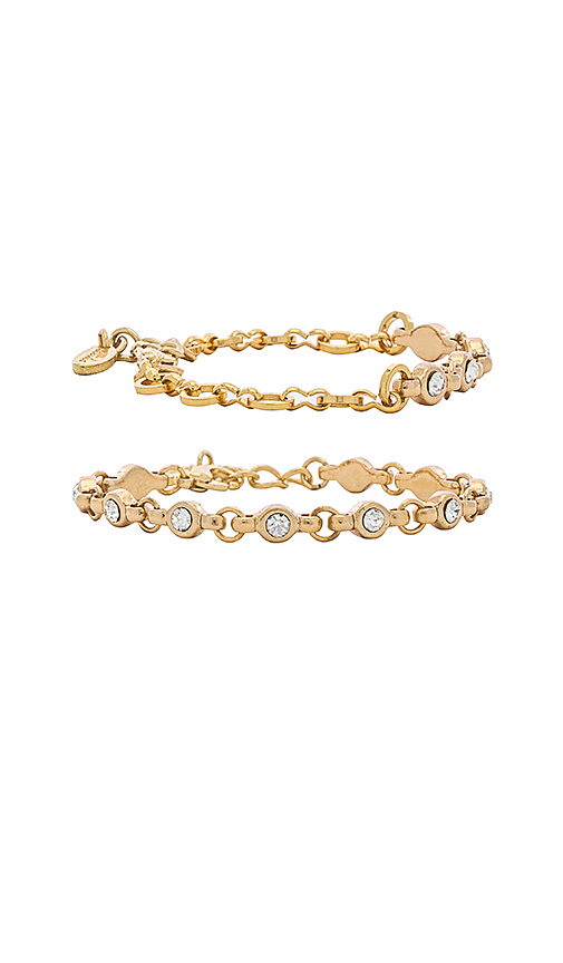 Ettika Rhinestone Chain Bracelet Set in Metallic Gold.