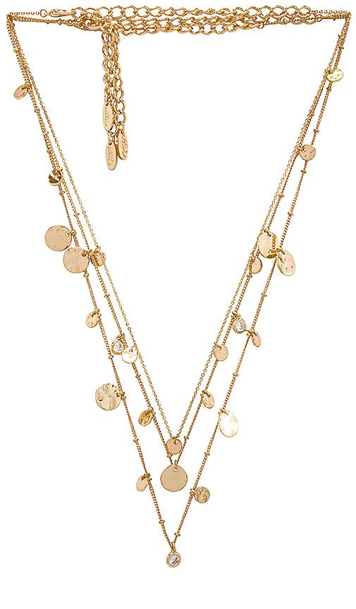 Ettika Layered Mini Disc Necklace in Metallic Gold.
