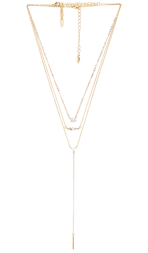 Ettika Layered Opal Lariat Necklace In Gold Modesens
