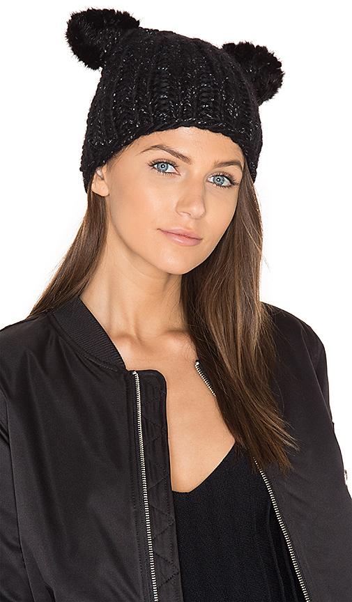Eugenia Kim Felix Beanie with Mink Fur Ears in Black.