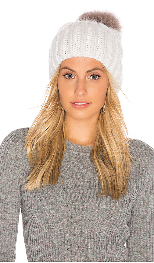 Eugenia Kim Fox Fur Rain Beanie in White