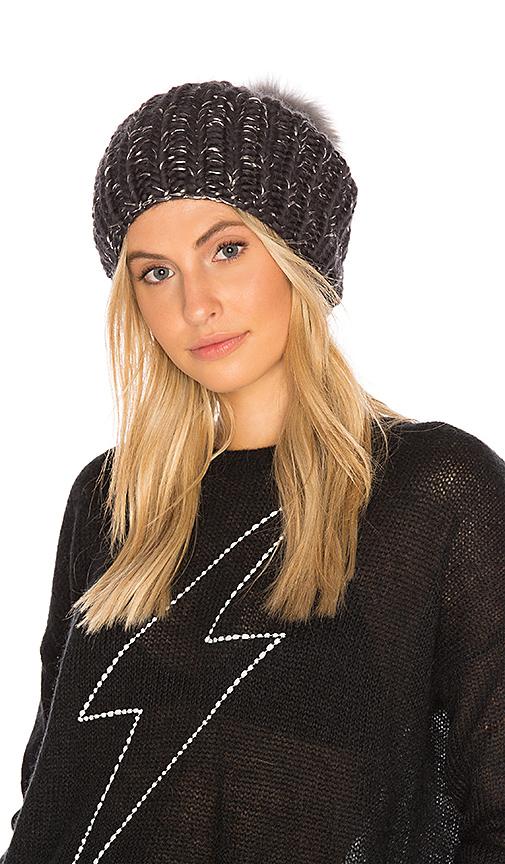 Eugenia Kim Fox Fur Rain Beanie in Gray