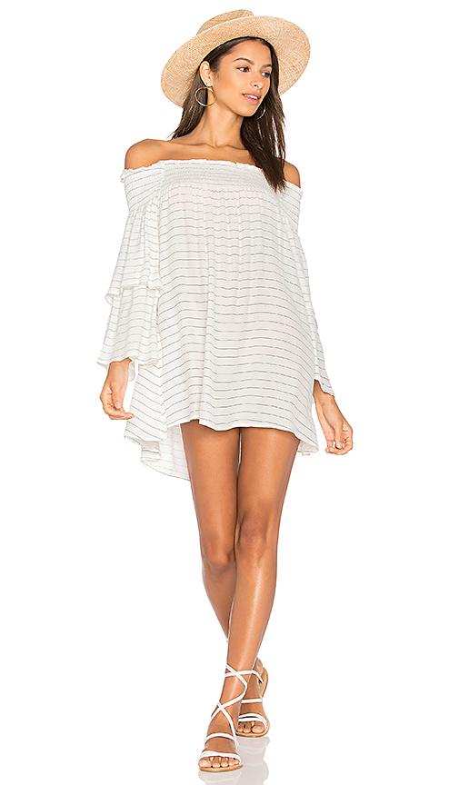 FAITHFULL THE BRAND Spanish Sahara Dress In Luca Stripe Print in White