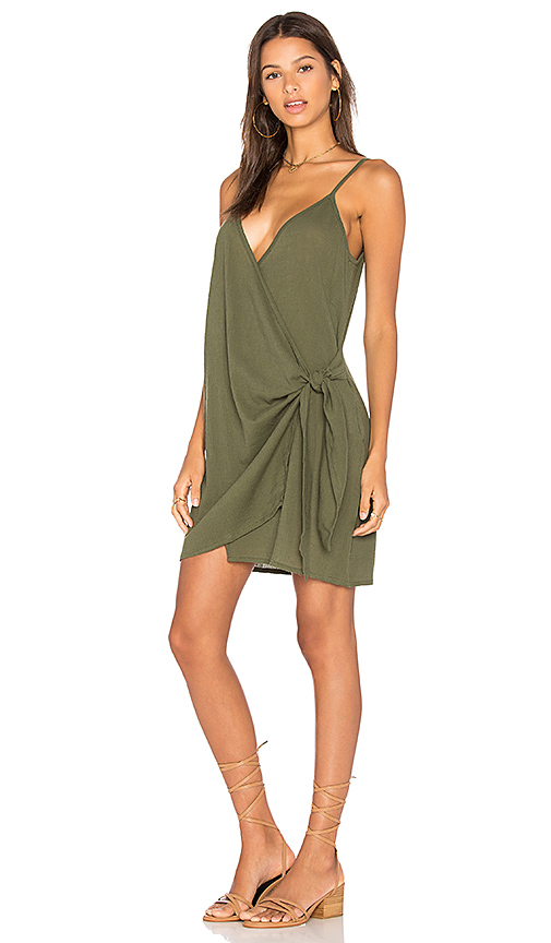FAITHFULL THE BRAND Kara Wrap Dress In Plain Khaki in Green. - size L (also in M,S,XS)