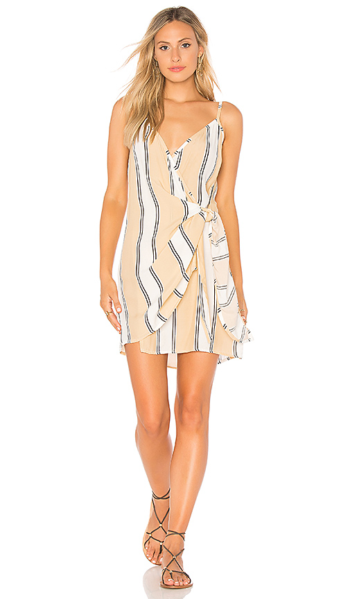 FAITHFULL THE BRAND Kara Wrap Dress in Tan. - size L (also in M,S,XS)