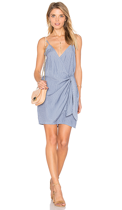 FAITHFULL THE BRAND Kara Wrap Dress in Blue. - size L (also in M,S)
