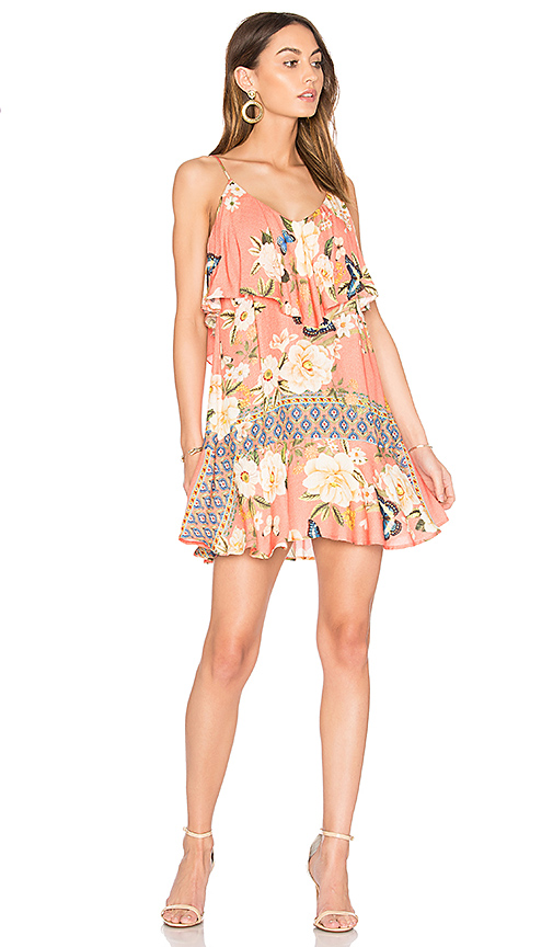 FARM Sweet Swing Mini Dress in Coral