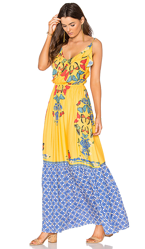 FARM Formenteira Long Dress in Yellow. - size S (also in M)