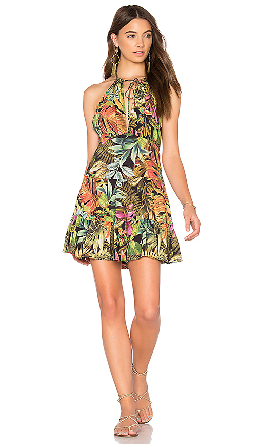 FARM Dark Foliage Mini Dress in Green