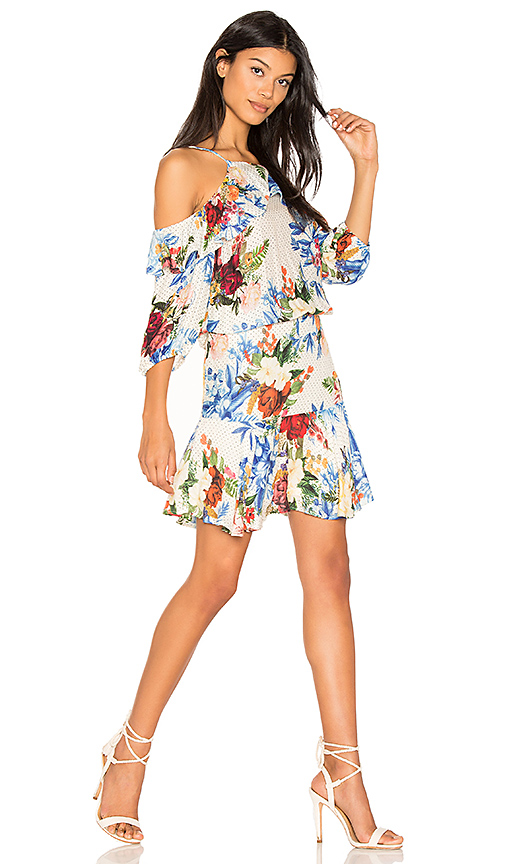 FARM Between Flowers Mini Dress in White