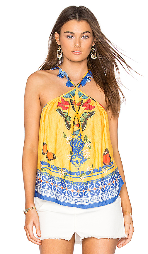 FARM Formenteira Ruffle Strap Top in Yellow