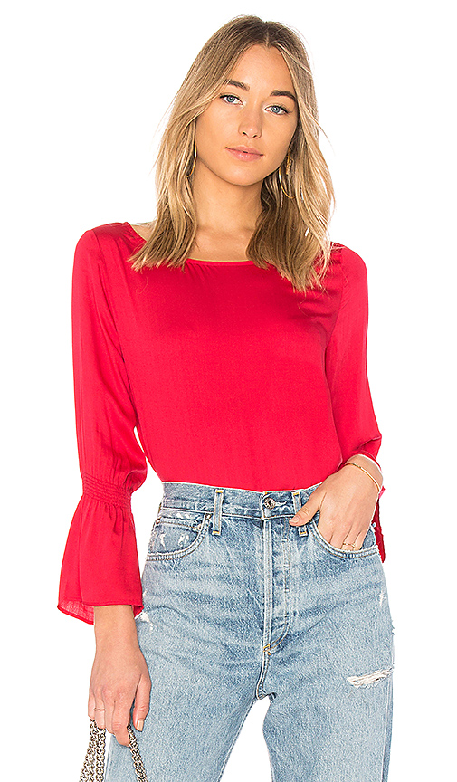 FARM Bell Sleeve Top in Red