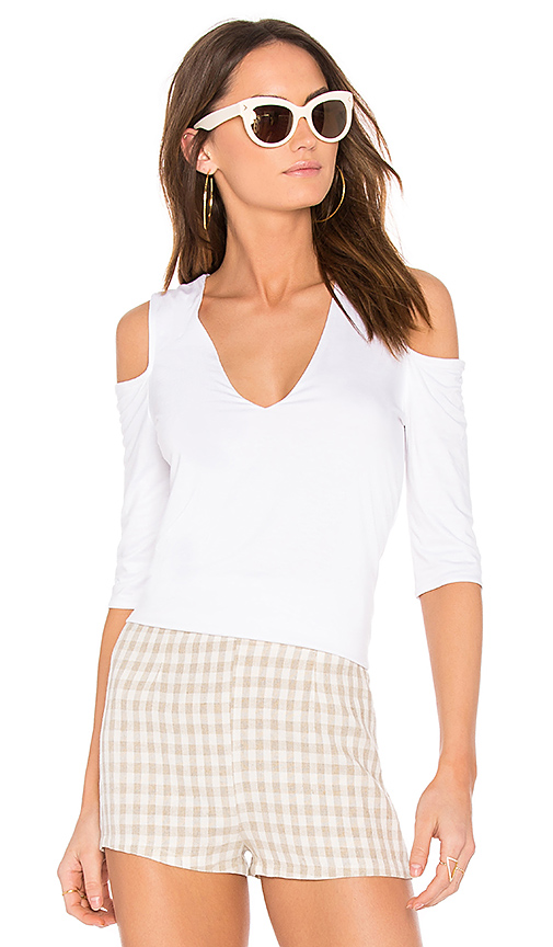 Feel the Piece Claremont Cold Shoulder Top in White