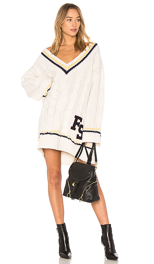 Fenty by Puma V Neck Cable Knit Sweater in Ivory