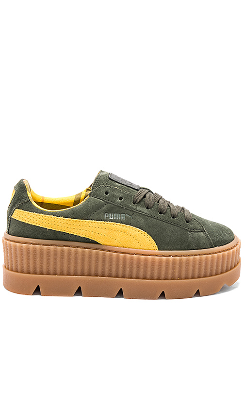 Fenty by Puma Cleated Suede Creeper in Army