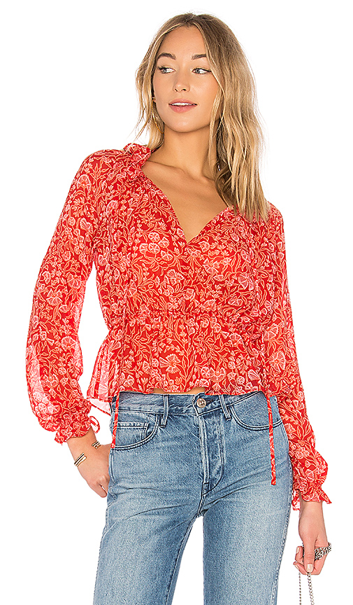 The Fifth Label Brushstrokes Blouse in Red. - size M (also in S)