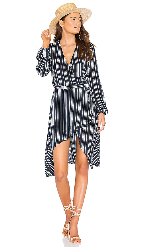 Finders Keepers Ira Wrap Dress in Navy. - size M (also in S,XS, XXS)