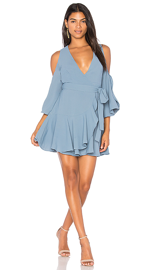 Finders Keepers Patience Wrap Dress in Blue