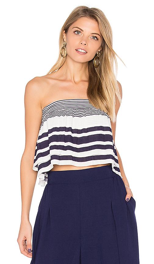 Finders Keepers Mason Strapless Crop Top in Navy