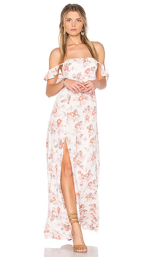 FLYNN SKYE Bardot Maxi Dress in Ivory