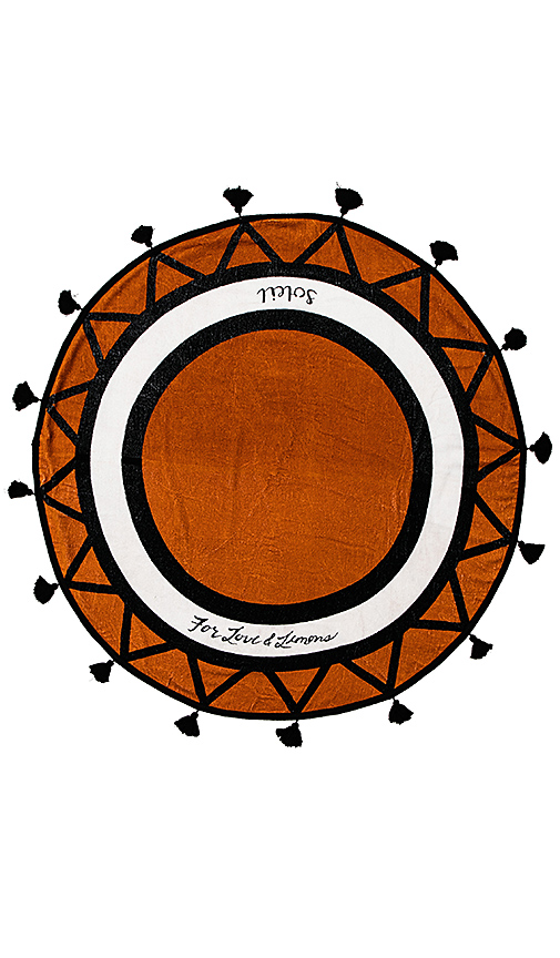 For Love & Lemons Delray Round Towel in Burnt Orange.