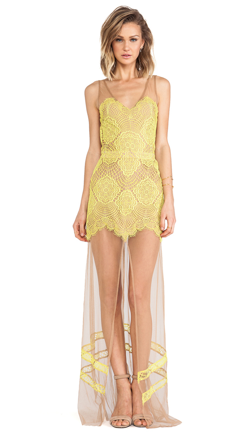 For Love & Lemons Antigua Maxi Dress in Yellow