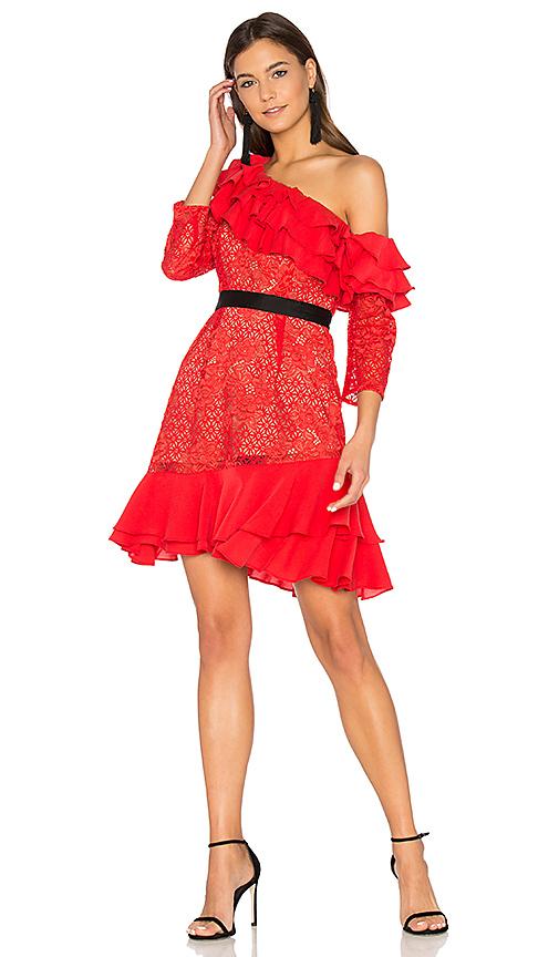 Photo of For Love & Lemons Chianti Off Shoulder Ruffle Dress in Red - shop For Love & Lemons dresses sales