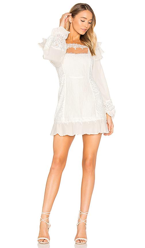 For Love & Lemons Crema Silk Linen Dress in White