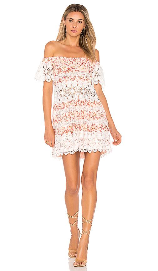 For Love & Lemons Cadence Off The Shoulder Dress in Pink