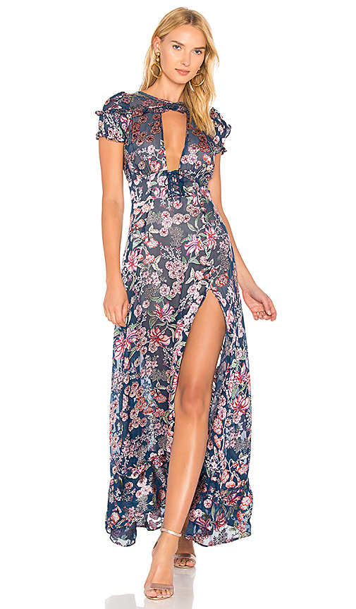 For Love & Lemons Flora Maxi Dress in Navy