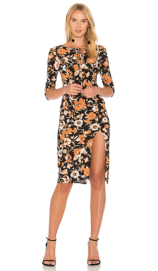 For Love & Lemons Floret Print Midi Dress in Black