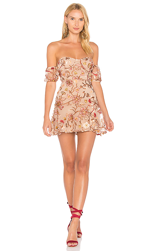 For Love & Lemons Botanic Strapless Dress in Brown