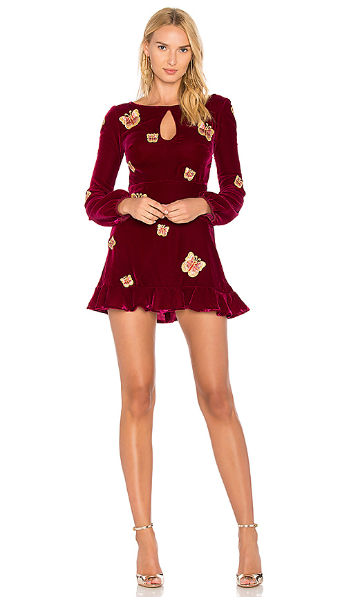 For Love & Lemons Papillon Mini Dress in Red
