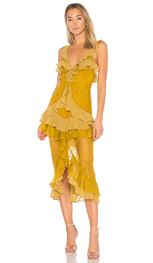 For Love & Lemons Daphne Lace Midi Dress in Yellow