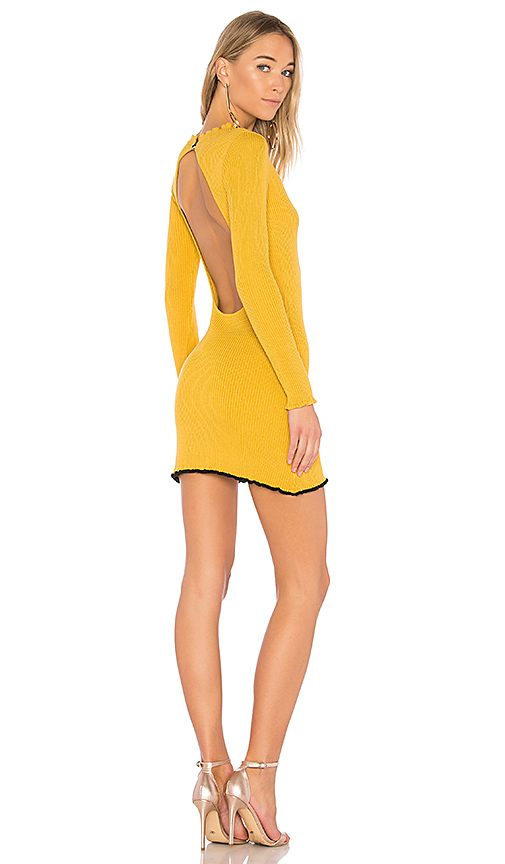 For Love & Lemons Ruffle Edge Mini Dress in Mustard