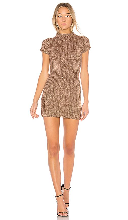 For Love & Lemons Sparkle Knit Metallic Dress in Metallic Bronze. - size S (also in M)