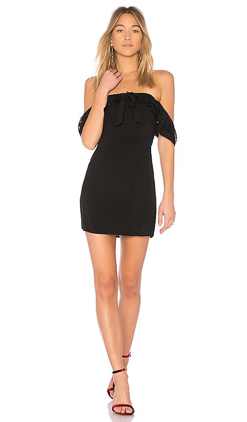 For Love & Lemons Claire Off Shoulder Dress in Black