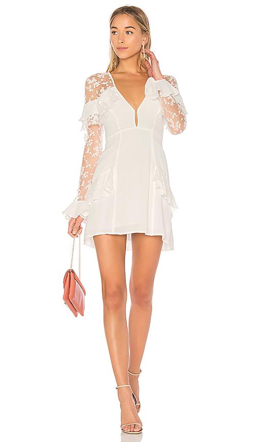 For Love & Lemons Rosebud Embroidery Mini Dress in Ivory