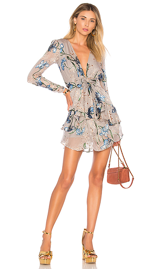 Photo of For Love & Lemons Cleo Floral Party Dress in Gray - shop For Love & Lemons dresses sales