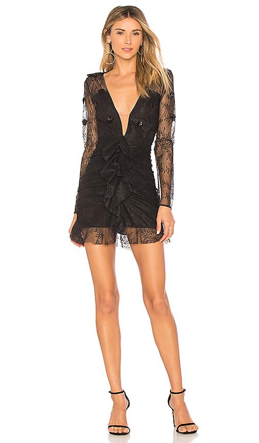 For Love & Lemons Daisy Lace Mini Dress in Black