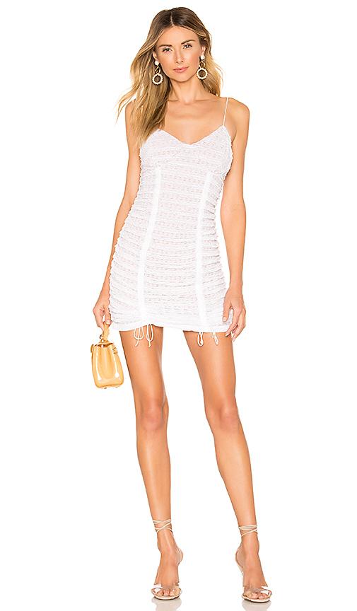 For Love & Lemons Dresses FOR LOVE & LEMONS FONDANT SHIRRED MINI DRESS IN WHITE.