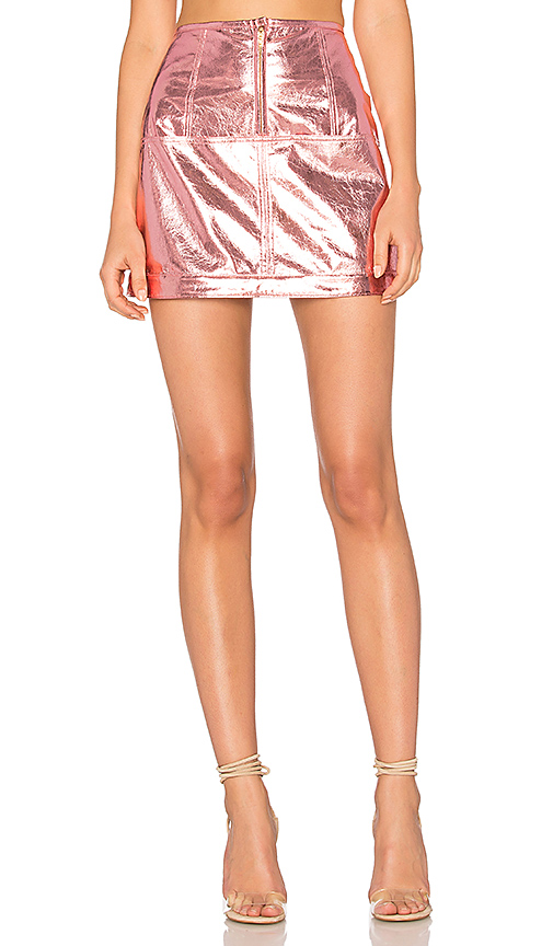 For Love & Lemons Luna Metallic Skirt in Pink. - size M (also in S)