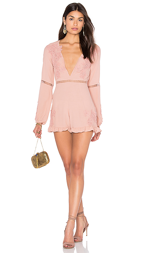 For Love & Lemons Lilou Floral Romper in Pink. - size L (also in M)