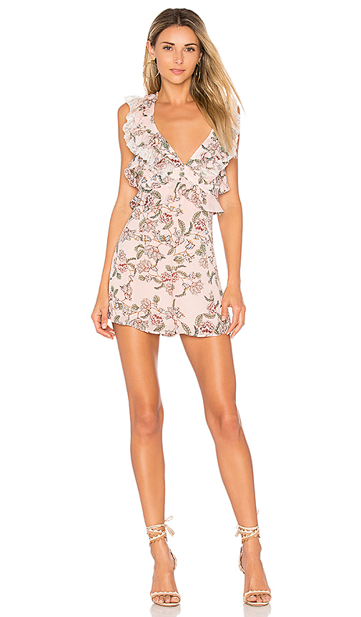 For Love & Lemons Bee Balm Floral Romper in Pink. - size L (also in M,S,XS)