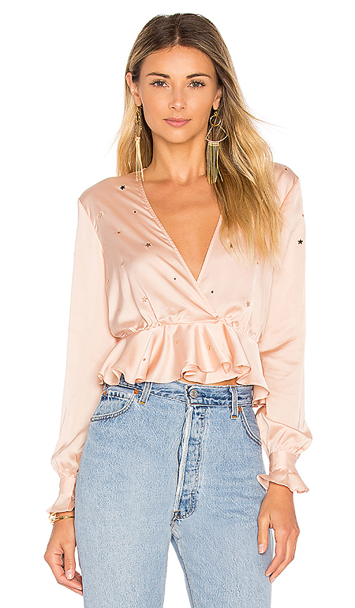For Love & Lemons Twinkle Long Sleeve Blouse in Pink