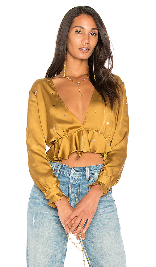 For Love & Lemons Twinkle Long Sleeve Blouse in Mustard. - size L (also in M,S,XS)
