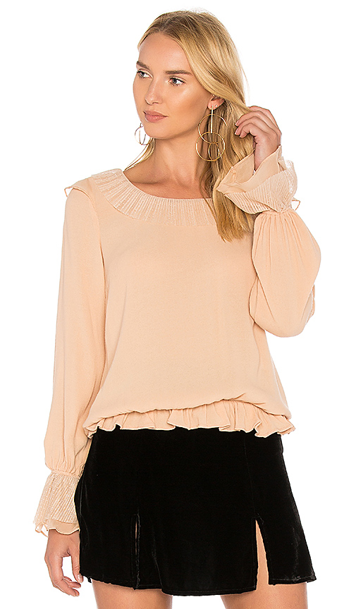 For Love & Lemons Evie Button Blouse in Peach