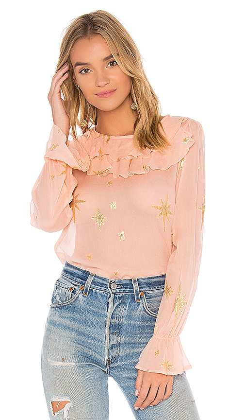 For Love & Lemons Gilded Star Blouse in Pink